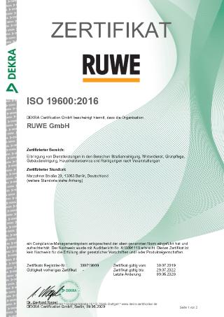 Zertifikat ISO 19600